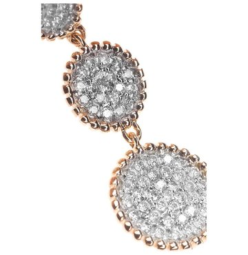 White Diamond 14K Pink Gold Triple Drop Earring