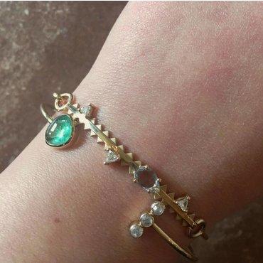 Emerald And Diamond 14K Yellow Gold Cuff