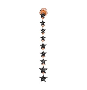 Black Diamond 14K Pink Gold Star Stiletto Earring
