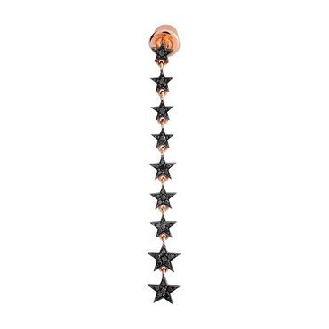 Black Diamond 14K Pink Gold Star Stiletto Earring