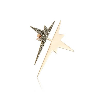 Champagne Diamond 14K Pink Gold Star Ear Jacket