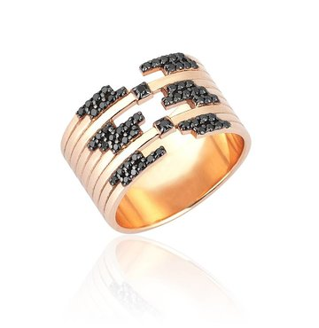 Black Diamond 14k Pink Gold Ring