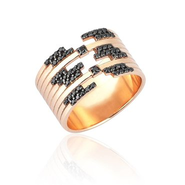 Black Diamond 14k Pink Gold Ring