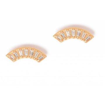 Baguette Diamond 14K Yellow Gold Fan Earring