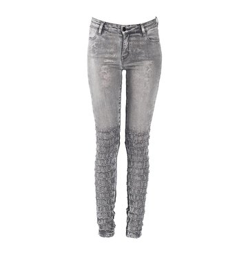 Skinny Mid-Rise Silver Coated Metallic Jean