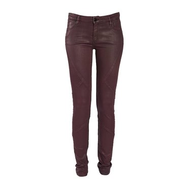 Skinny Mid-Rise Bordeaux Coated Jeans