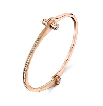 White Diamond 18K Rose Gold Handcuff Bracelet