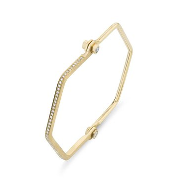 White Diamond 18K Yellow Gold Hexagon Bracelet