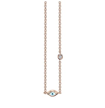 Enamel Mini Evil Eye 14K Rose Gold With A Bezel Set Diamond Necklace