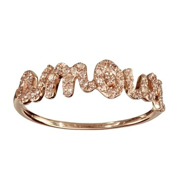 Pave' White Diamond 14K Rose Gold Amour Ring