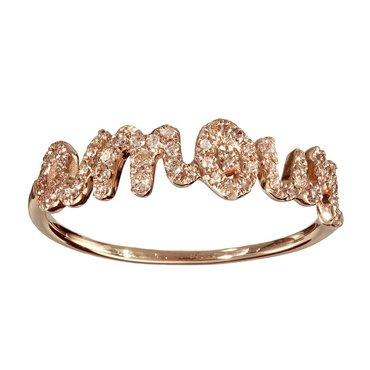 Pave' White Diamond 14K Rose Gold Amour Ring