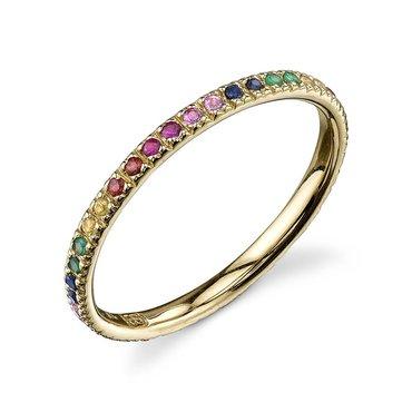 Rainbow Sapphire 14K Yellow Gold Ring