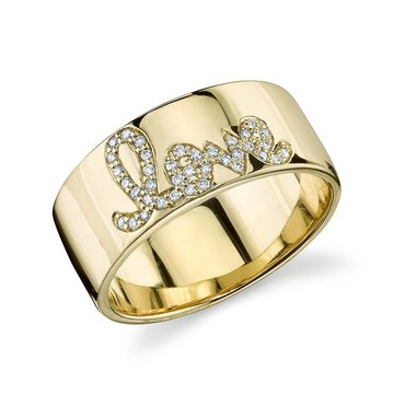 Pave' White Daimond 14K Yellow Gold Love Band Ring