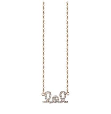 White Diamond 14K Rose Gold LOL Necklace