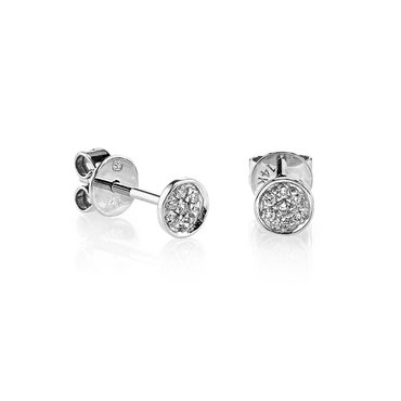 White Diamond Pave 14K White Gold Disc Stud