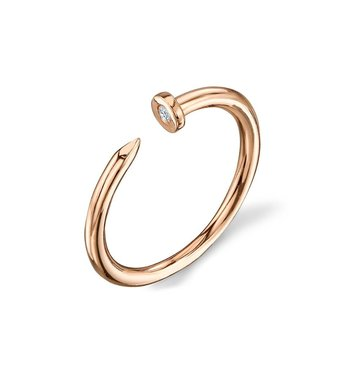 White Bezel Set Diamond 14K Yellow Gold Ring