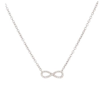 White Diamond Tiny Infinity Sterling Silver Necklace