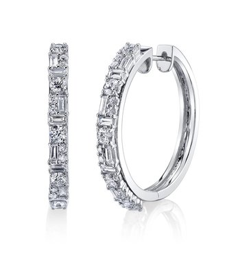 Mixed Cut White Diamond 18K White Gold Small Hoop