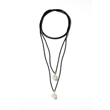 Black Spinel Double Strand Gemstone Lariat