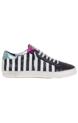 P448 Low Top  Black And White Stripe Sneaker