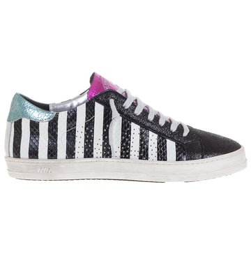 P448 Low Top  Black And White Stripe Sneaker