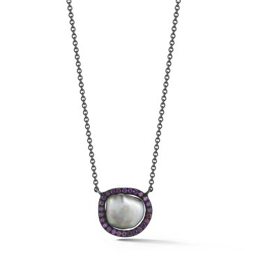 Purple Diamond and Tahitian Pearl Equator Necklace