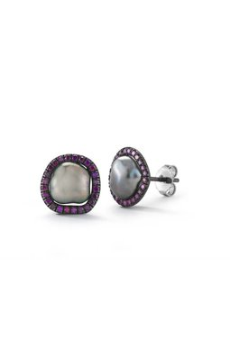 Purple Diamond Equator Pearl Studs