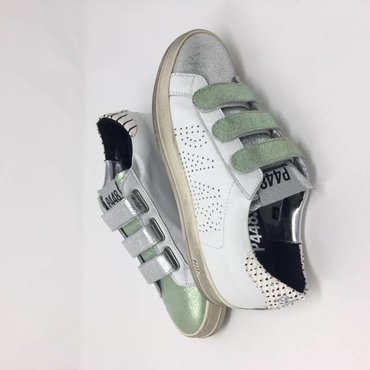 P448 Low Top Metallic Green And Silver Sneaker