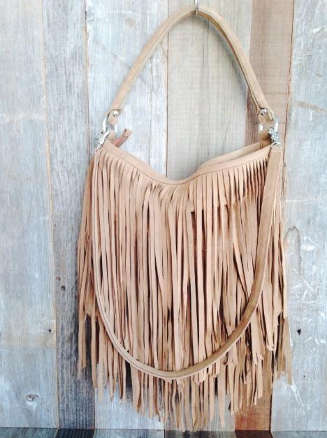 Kippy S Leather Fringe Bag In Camel