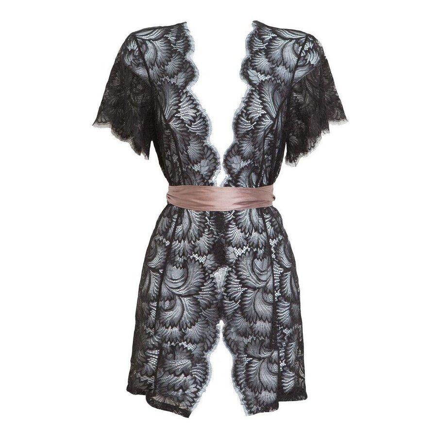 obsession bed jacket w/ silk waist sash