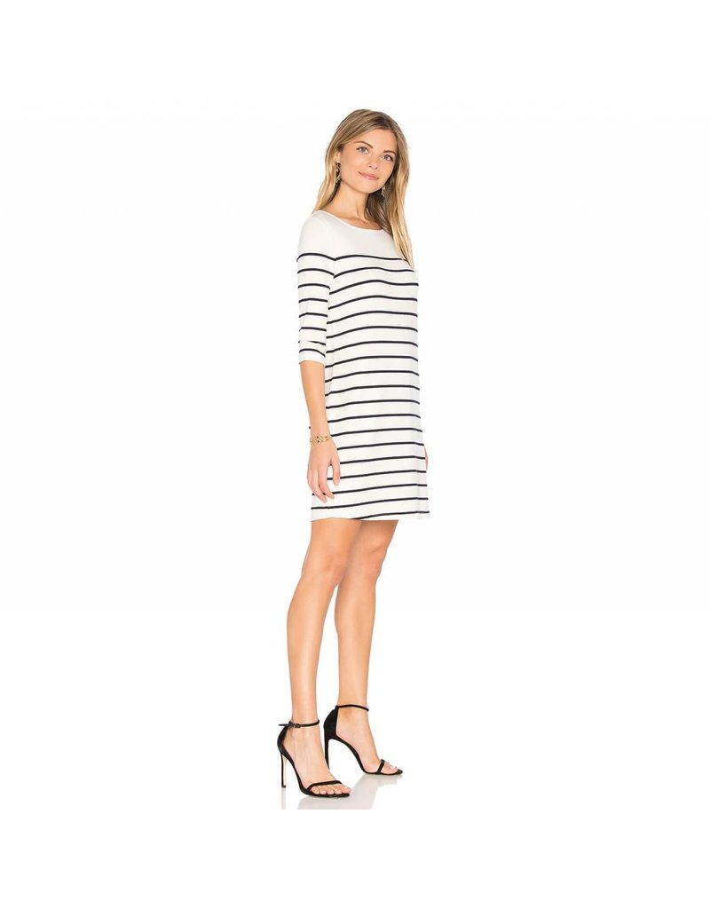 Cupcakes and Cashmere C&C Ivory/Navy Stripe Stretch Dress