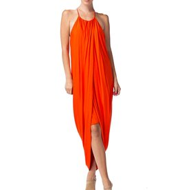 Rust Drape High Low Layered Dress
