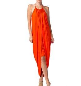 Rust Drape High Low Layered Dress