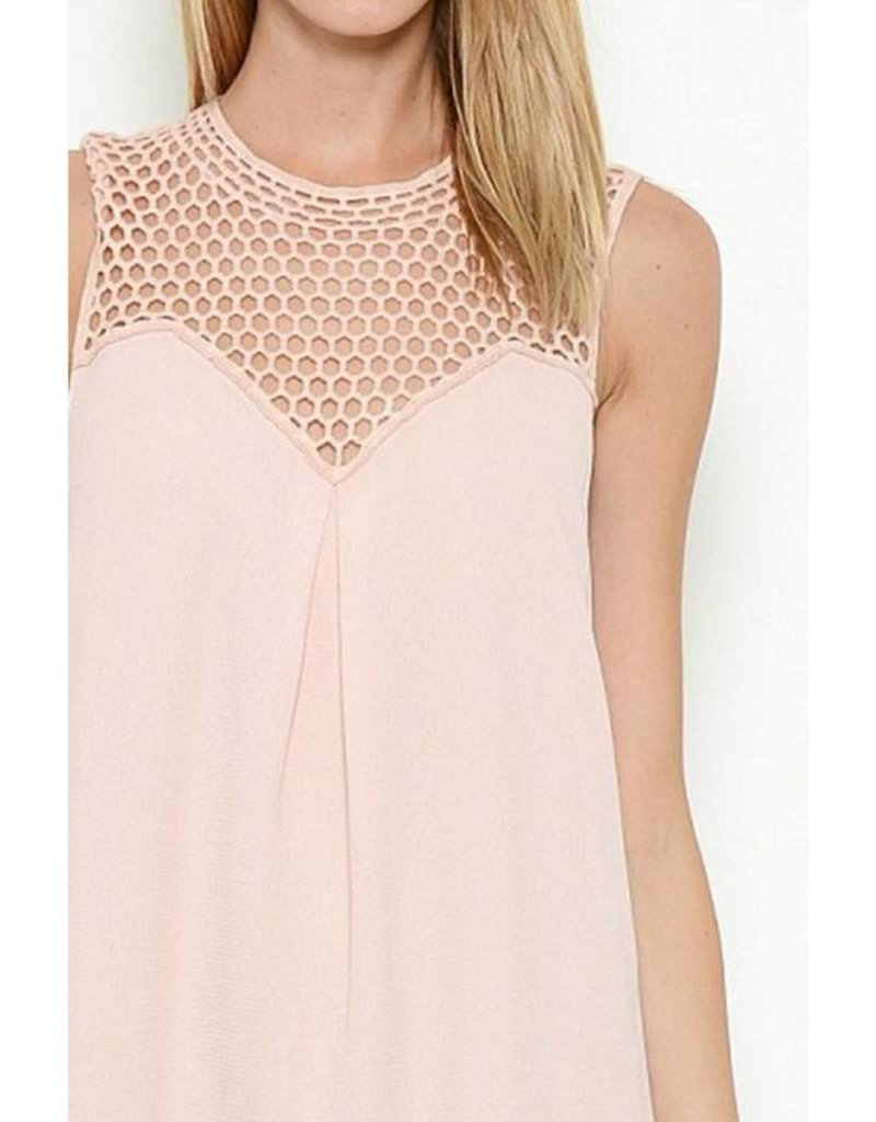 Pink Mesh Sweatheart Neckline Dress