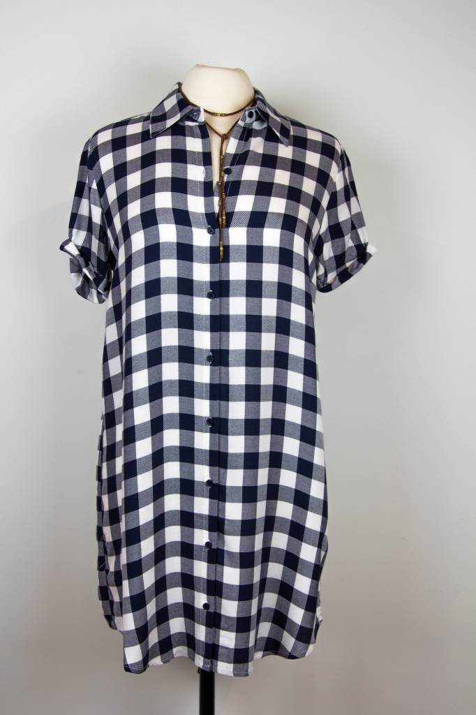 BB Dakota BB Dakota Nvy/Wht Buffalo Plaid Dress