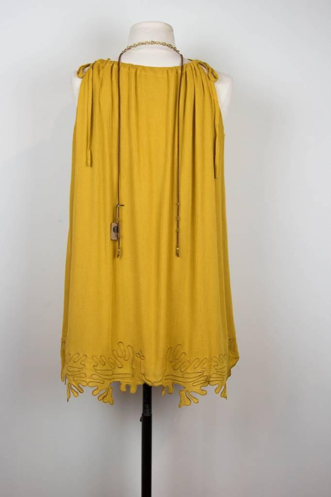 Lumiere Mustard Detailed Bottom Dress
