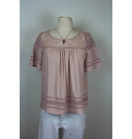 BB Dakota BB Dakota Dusty Rose Lace Top