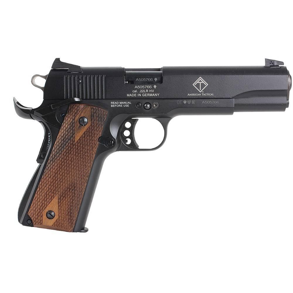 "American Tactical GSG 1911 Pistol 2210M1911CA, 22 LR, 5"", Checkered Wood Grip, Black Finish, 3-Dot Fixed Sights, 10 Rd"