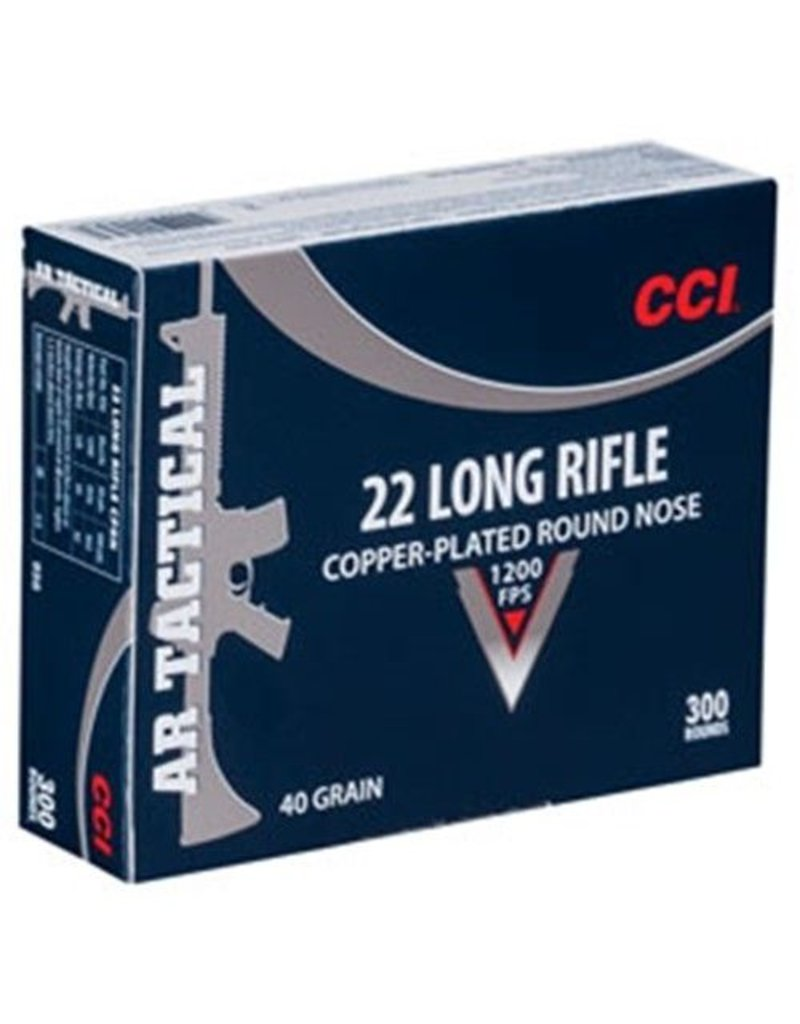 CCI .22LR Rimfire, AR Tactical, 40 Grain, Copper Plated Round Nose, 300rd/box