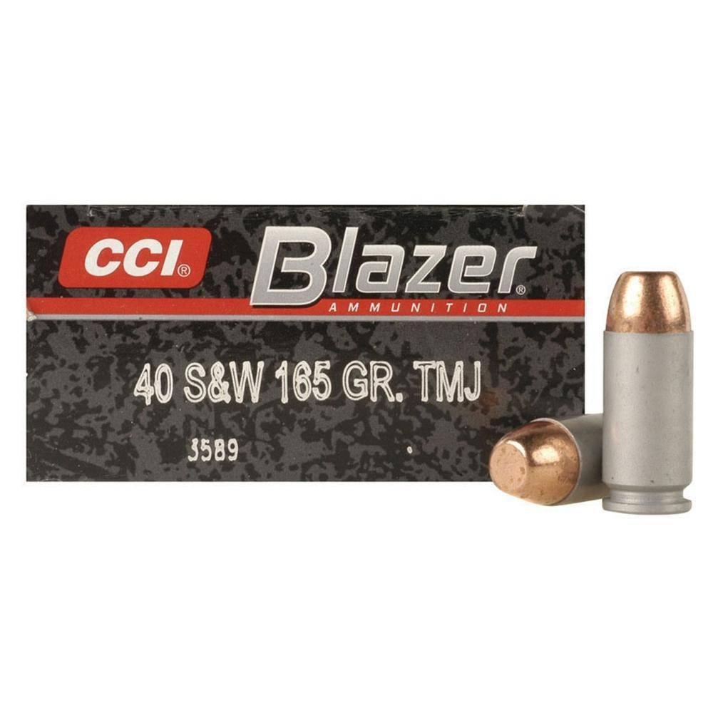 CCI Blazer Handgun Ammunition 3589, 40 S&W, Total Metal Jacket (TMJ), 165 GR, 1100 fps, 50 Rd/bx