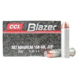 CCI Blazer Handgun Centerfire Ammunition 3542, 357 Remington Mag, Jacketed Hollow Point, 158 GR, 1150 fps, 50 Rd/bx