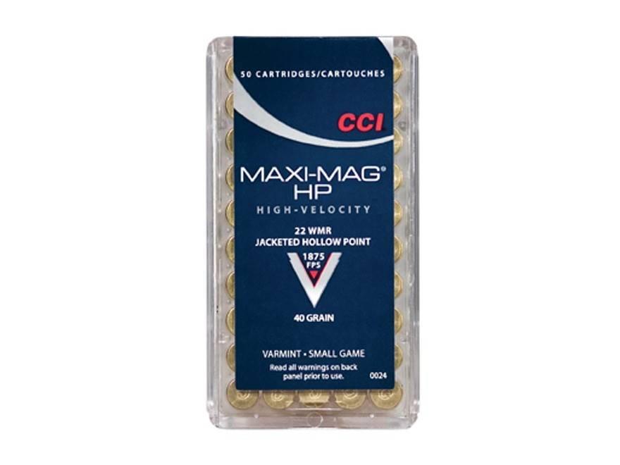 CCI Max-Mag Varmint Rimfire Ammunition 0024, 22 Magnum (WMR), Jacketed Hollow Point (JHP), 40 GR, 1875 fps, 50 Rd/bx