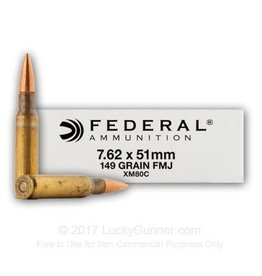 Federal XM Rifle Ammunition XM80C, 7.62mm x 51mm, Full Metal Jacket (FMJ), 149 GR, 20 Rd/bx
