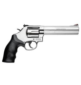 "Smith & Wesson Smith & Wesson 686 Revolver 164224, 357 Magnum, 6"", Rubber Grip, Stainless Finish, 6 Rd, Red Ramp, White Outline Sights"