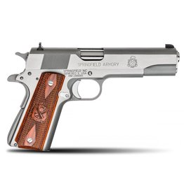 """Springfield Springfield MilSpec Full Size Stainless Pistol PB9151LP, 45 ACP, 5"""", Cocobolo Wood Grips, Stainless Finish, Fixed Combat Sights, 7 Rd"""