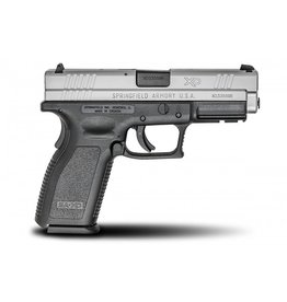 """Springfield Springfield XD-9 Package XD9301SP06, 9 MM, 4"""", Checkered Polymer Grip, Stainless Slide/Black Frame"""