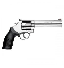 """Smith & Wesson Smith & Wesson 686 Plus Revolver 164198, 357 Remington Mag, 6"""" , Synthetic Grip, Satin Stainless Finish, 7 Rd, Red Ramp, White Outline Sights"""