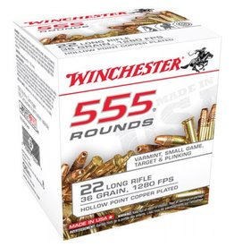 Winchester Rimfire Ammunition 22LR555HP, 22LR, 36 GR, Copper Plated Hollow Point, 555 Rd Box