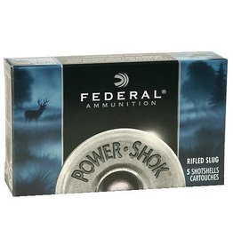 "Federal Premium Power Shok F131RS, 12 Gauge, 3"", 1 1/4 oz, 1600 fps, Lead Rifle Slug, 5 Rd/bx"