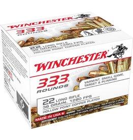 Winchester Rimfire Ammunition 22LR333HP, 22 LR, Copper Plated HP, 36 GR, 1280 fps, 333 Rd Box